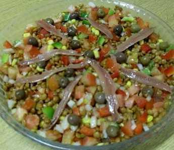 Lentejas en ensalada a la anchoa Recetas Saludables