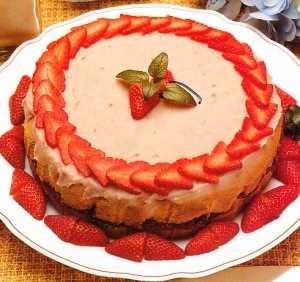 Torta con helado de fresas Recetas Saludables